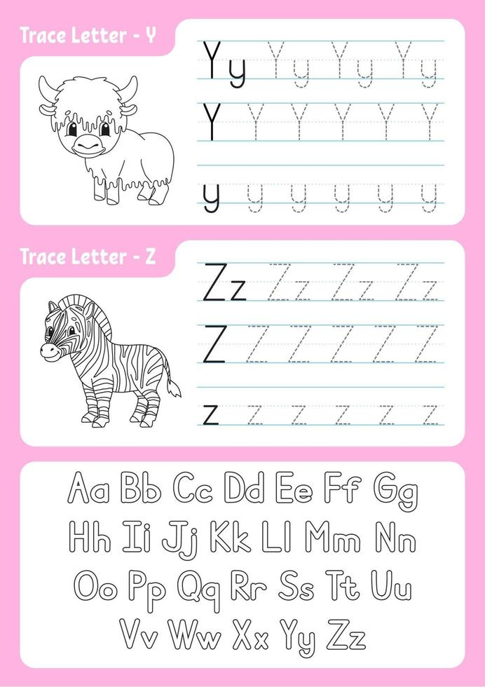Writing letters y, z. Tracing page. Worksheet for kids. Practice sheet. Learn alphabet. Cute characters. Vector illustration. Cartoon style.