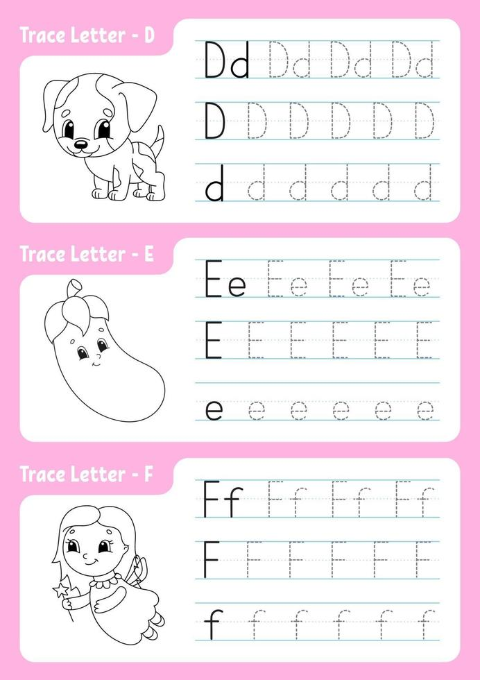 Writing letters d, e, f. Tracing page. Worksheet for kids. Practice sheet. Learn alphabet. Cute characters. Vector illustration. Cartoon style.