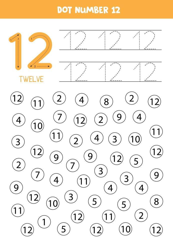encuentra y colorea el número 12. Juego de matemáticas para niños. vector