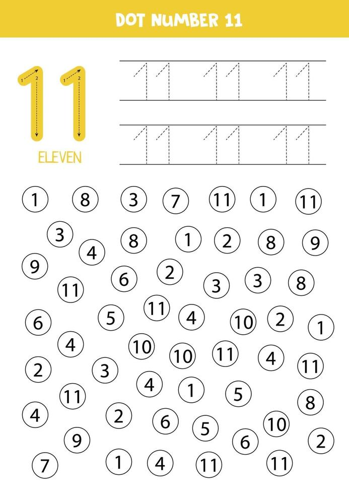 Dot or color all numbers 11. Educational game. vector