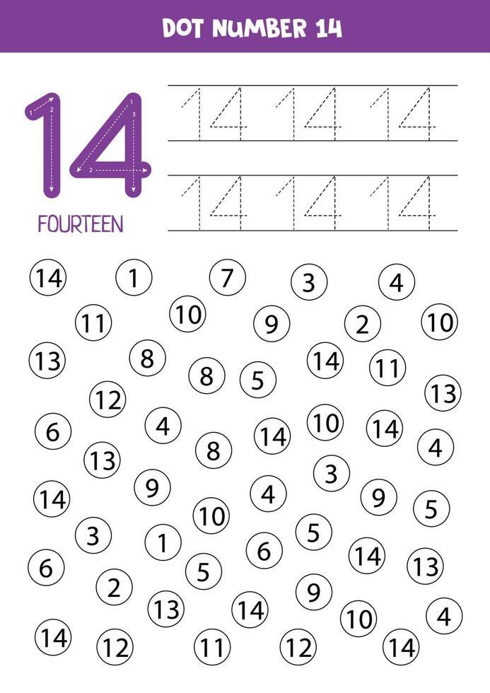 puntear o colorear todos los números 14. juego educativo. vector