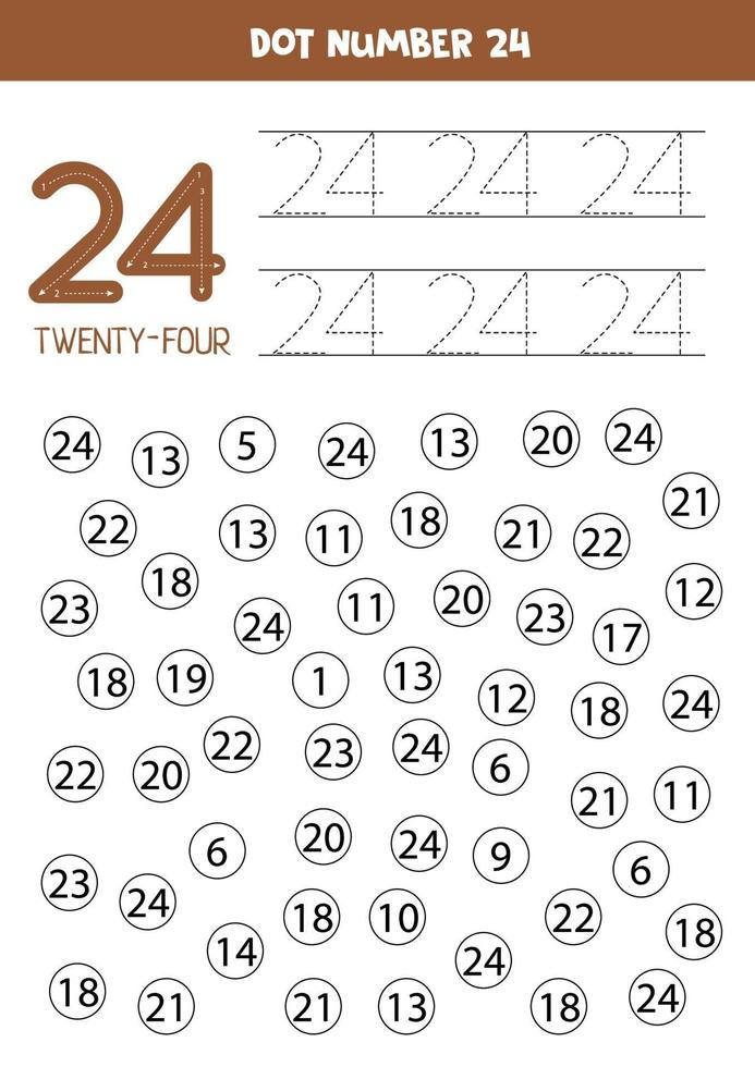 Dot or color all numbers 24. Educational game. vector
