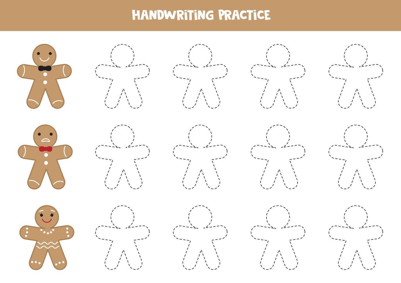 Hoja de trabajo de práctica de escritura para niños. rastreando a los hombres de las galletas de jengibre. vector