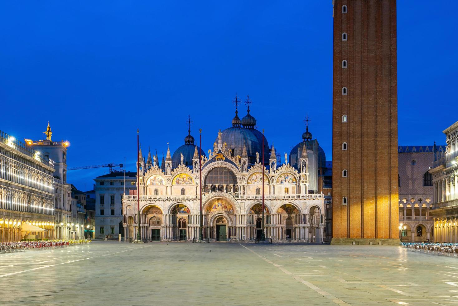 St. Mark's square in Venice during sunrise photo