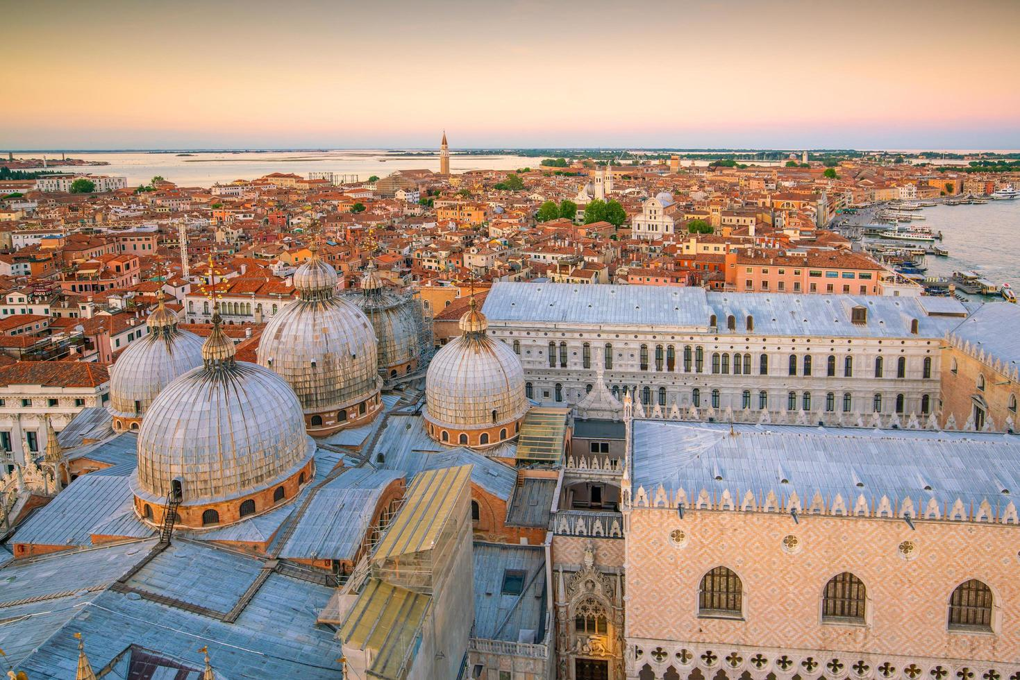 Cityscape of Venice skyline from top view in Italy photo