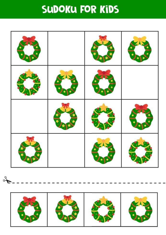 juego de sudoku con diferentes coronas navideñas. hoja de trabajo para niños. vector