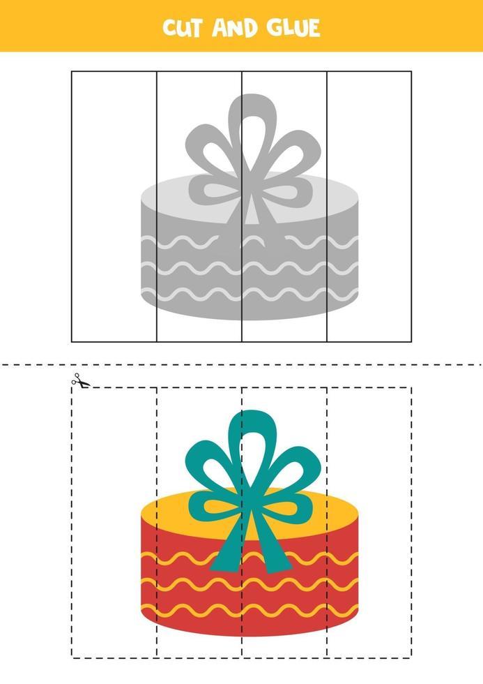 Cutting practice for kids. Cartoon present box. vector