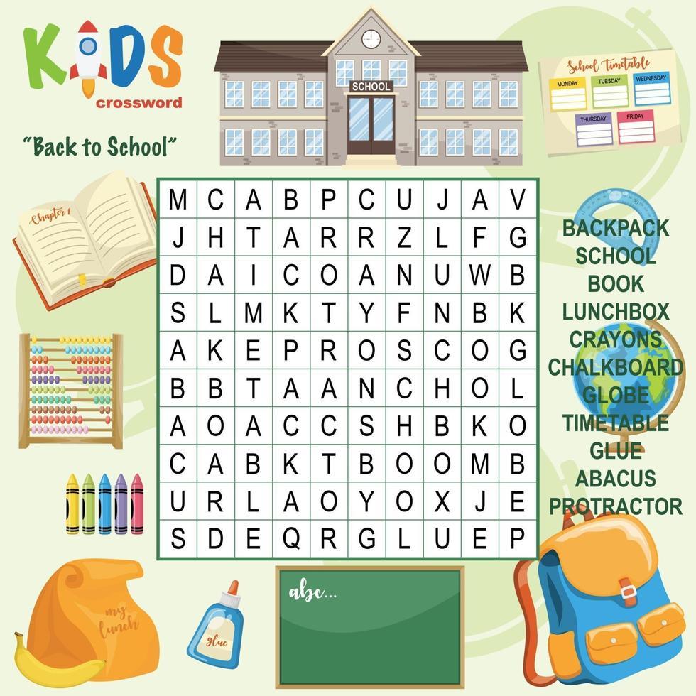 crucigrama de búsqueda de palabras de regreso a la escuela vector