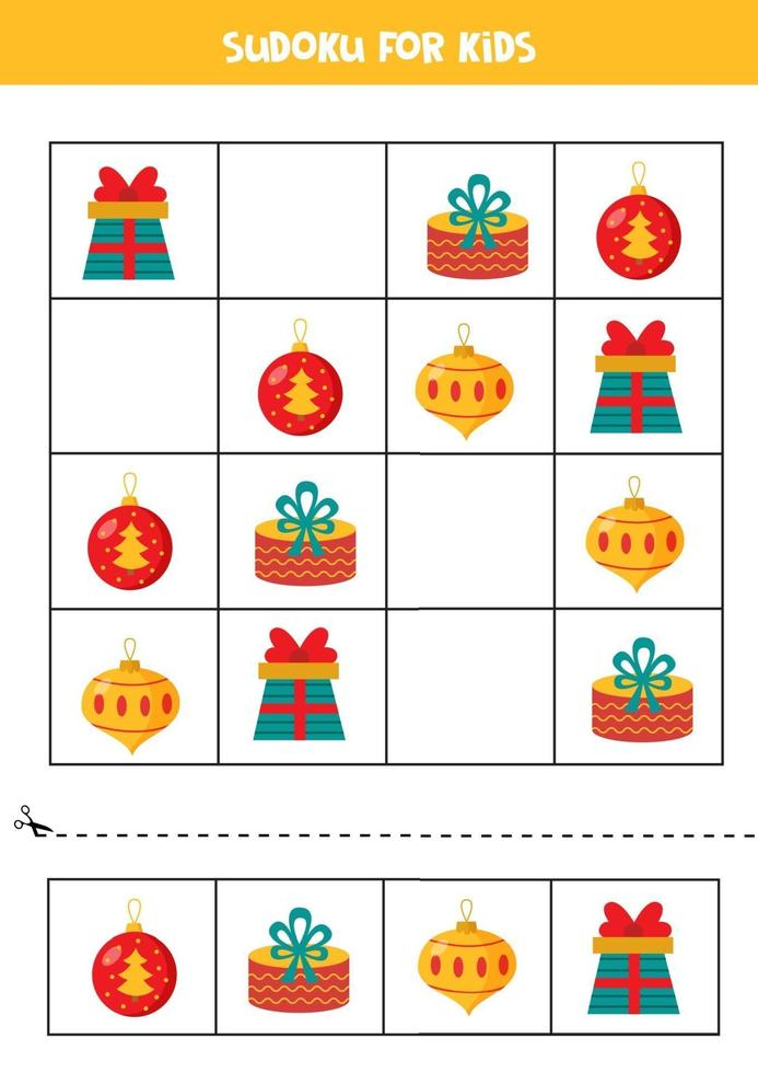 Sudoku game for kids. Set of Christmas balls and present boxes. vector