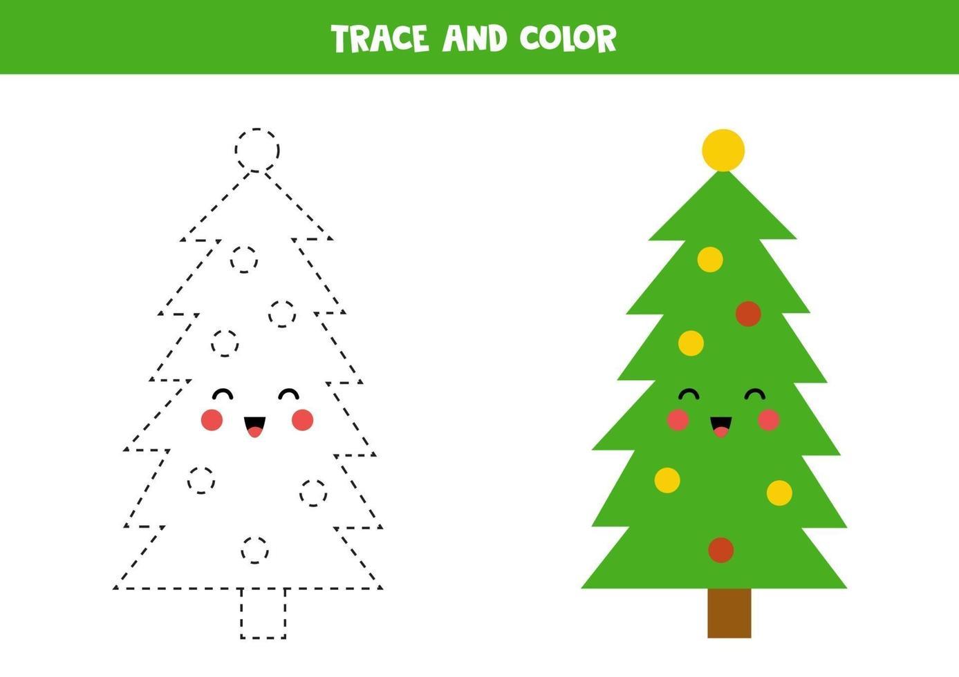Traza y colorea el lindo árbol de navidad kawaii. vector