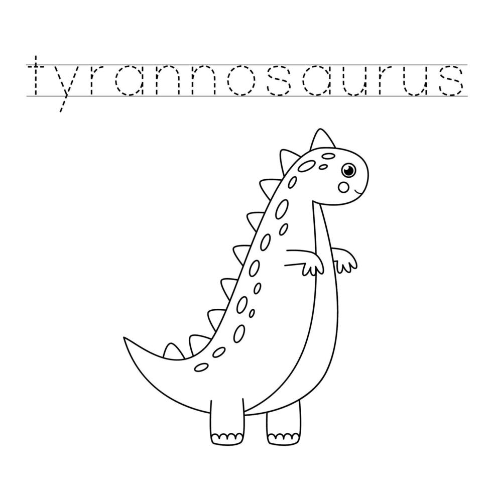 Tracing letters with cute dinosaurs. Writing practice. vector