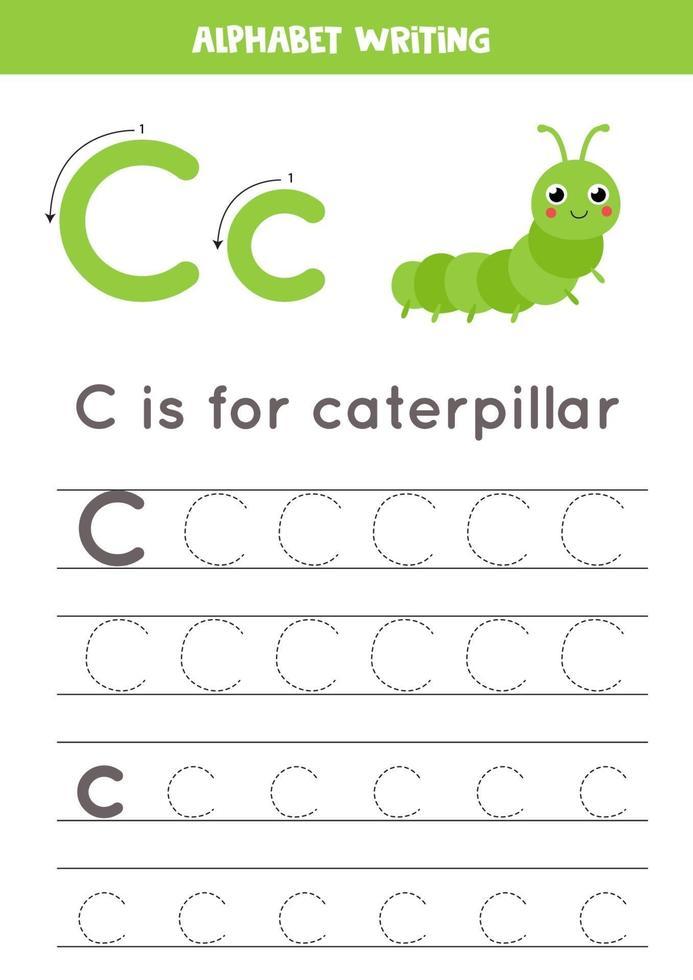 Tracing alphabet letter C with cute cartoon caterpillar. vector