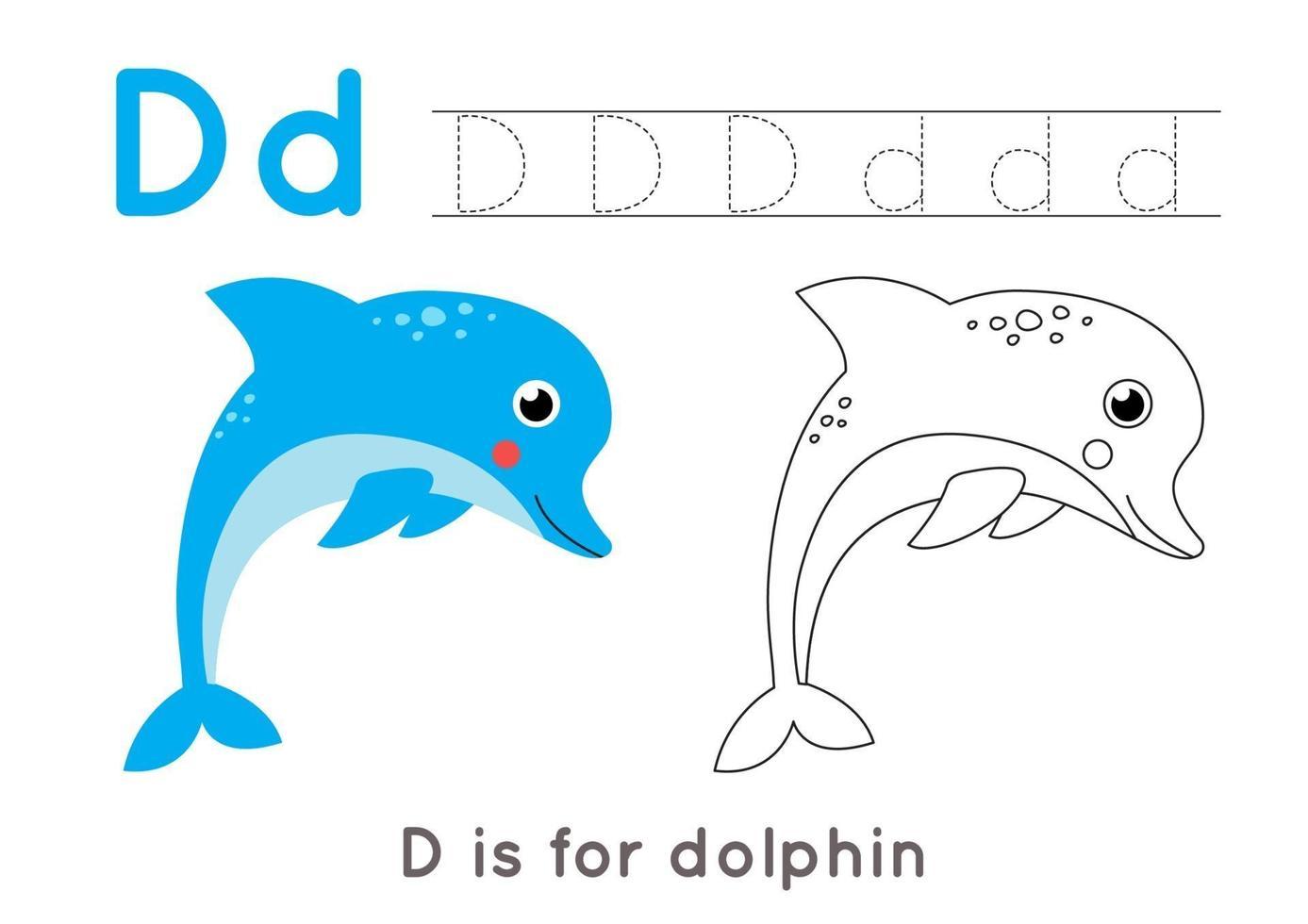 Página para colorear con la letra d y un delfín de dibujos animados lindo. vector