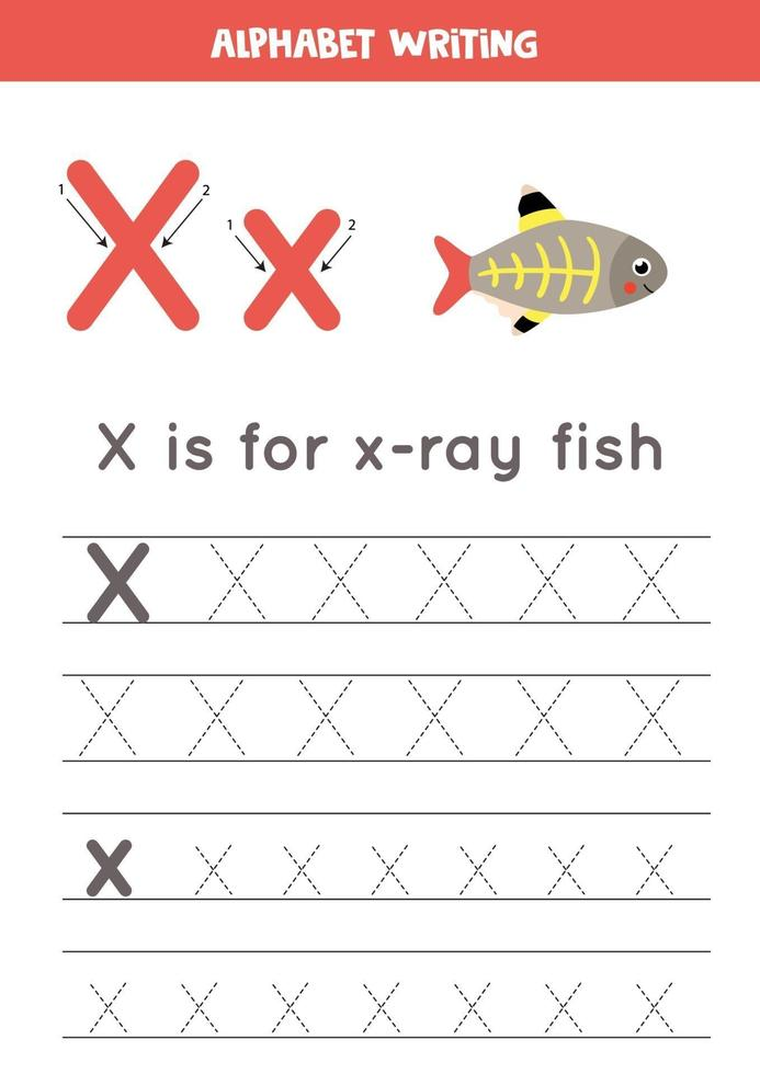 Tracing alphabet letter X with cute cartoon x ray fish. vector