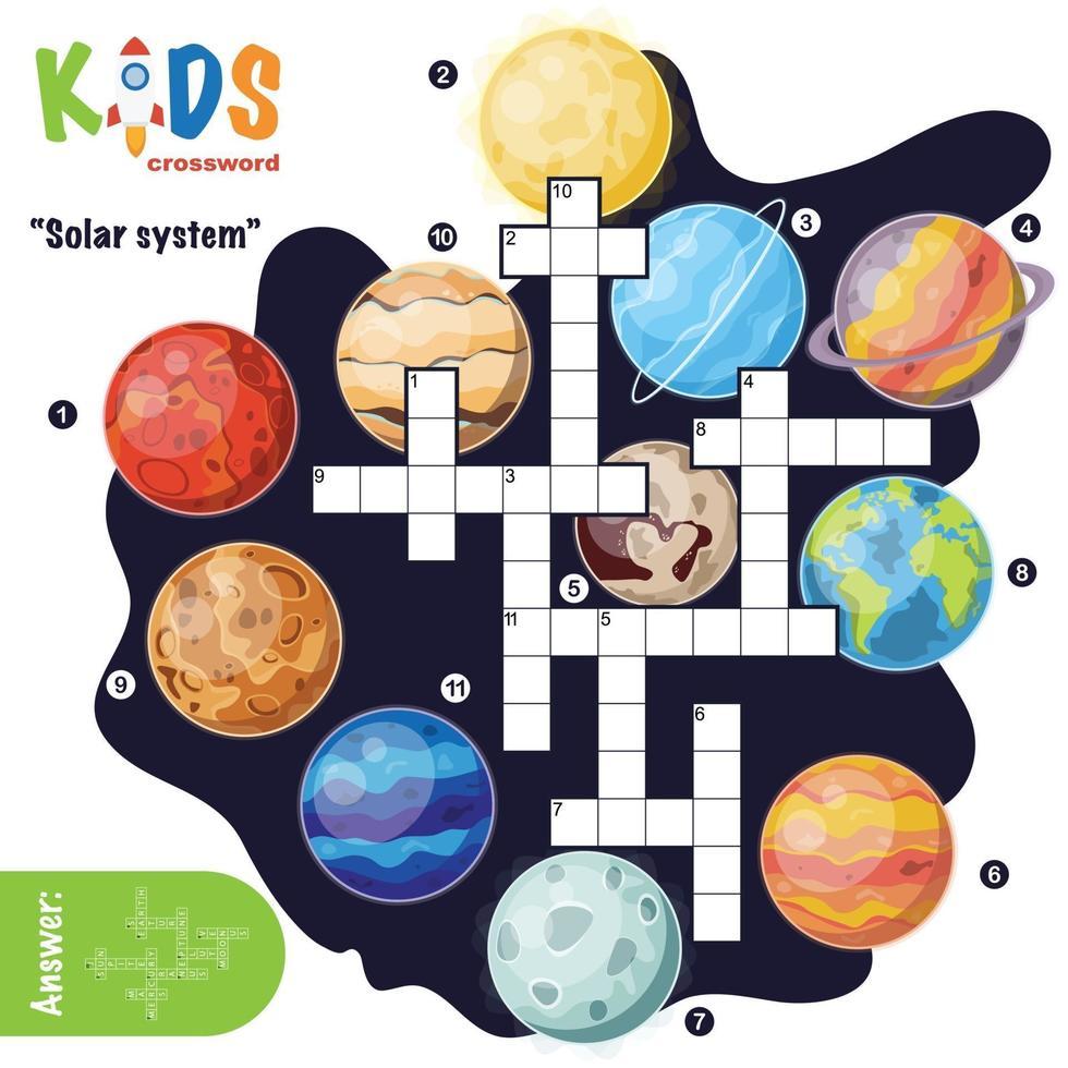 crucigrama del sistema solar vector