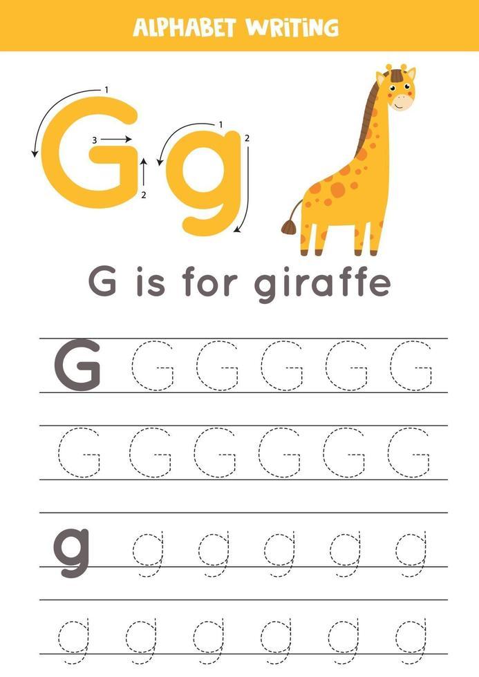 G is for giraffe. Tracing English alphabet worksheet. vector