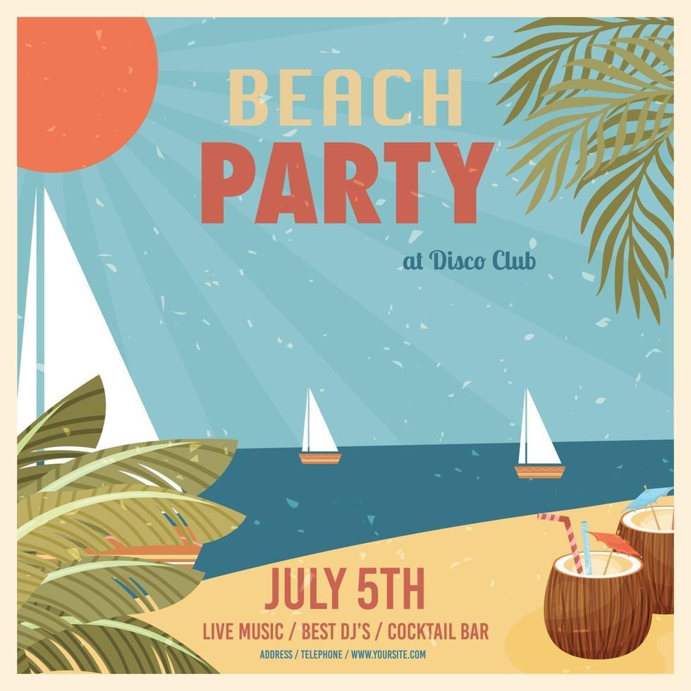 cartel de fiesta en la playa vector