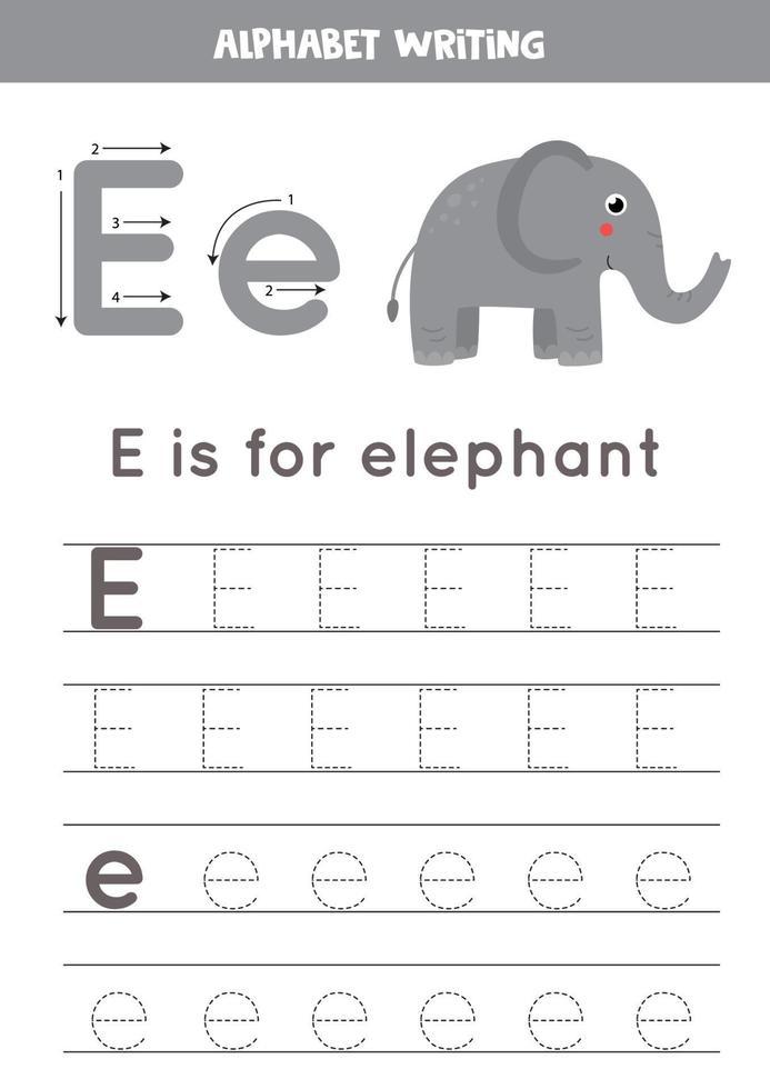 rastreo del alfabeto inglés. la letra e es para elefante. vector