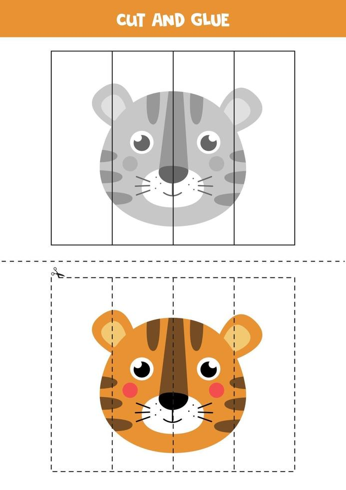 Cut and glue game for kids. Cute tiger face. vector