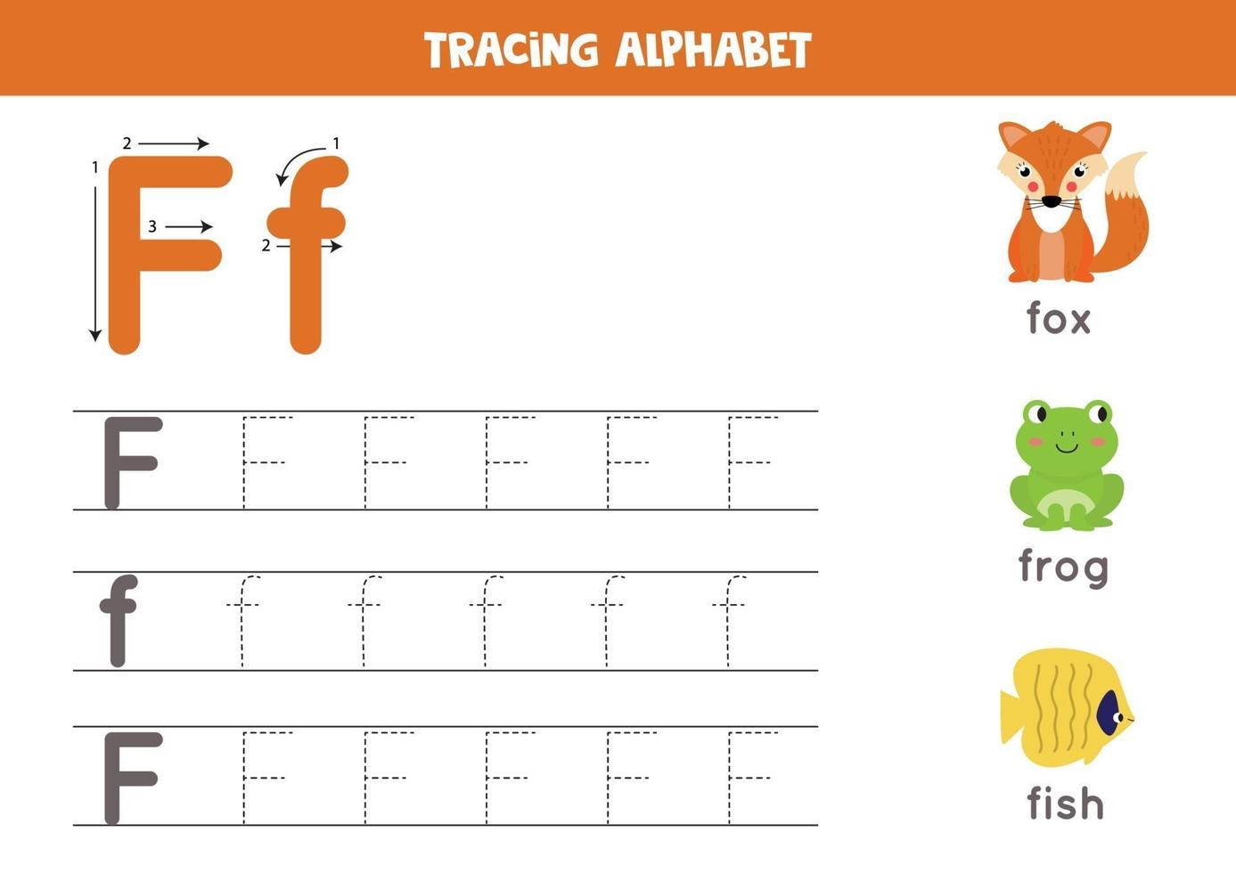 F is for fox, frog, fish. Tracing English alphabet worksheet. vector