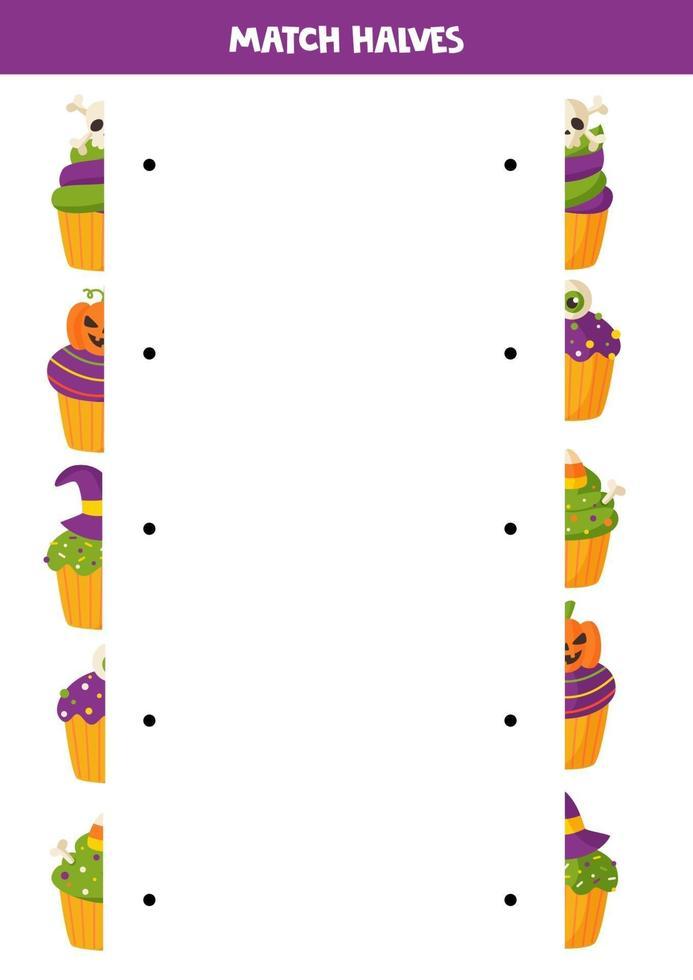 emparejar mitades de lindos cupcakes de halloween. juego para niños. vector