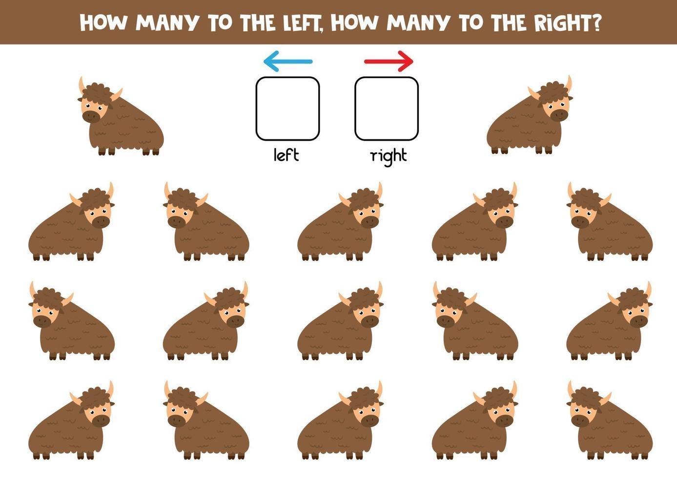 cuente todos los yaks que van a la derecha y a la izquierda. vector