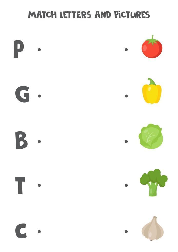 juego de correspondencias para niños. busque la imagen y la letra con la que comienza. vector