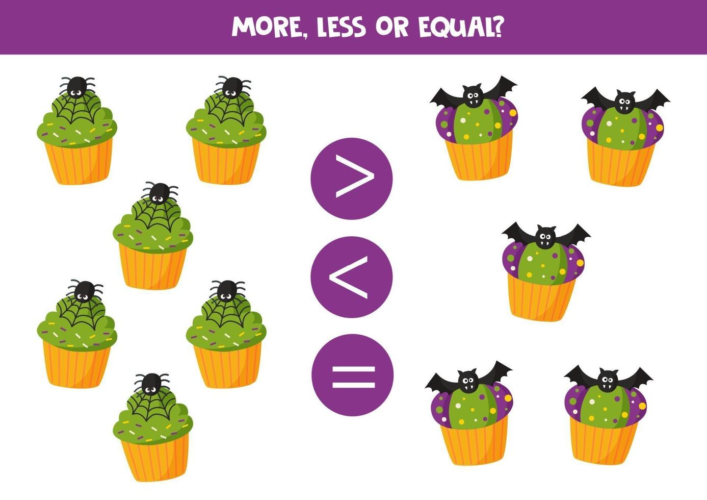 More, less or equal with Halloween muffins. vector