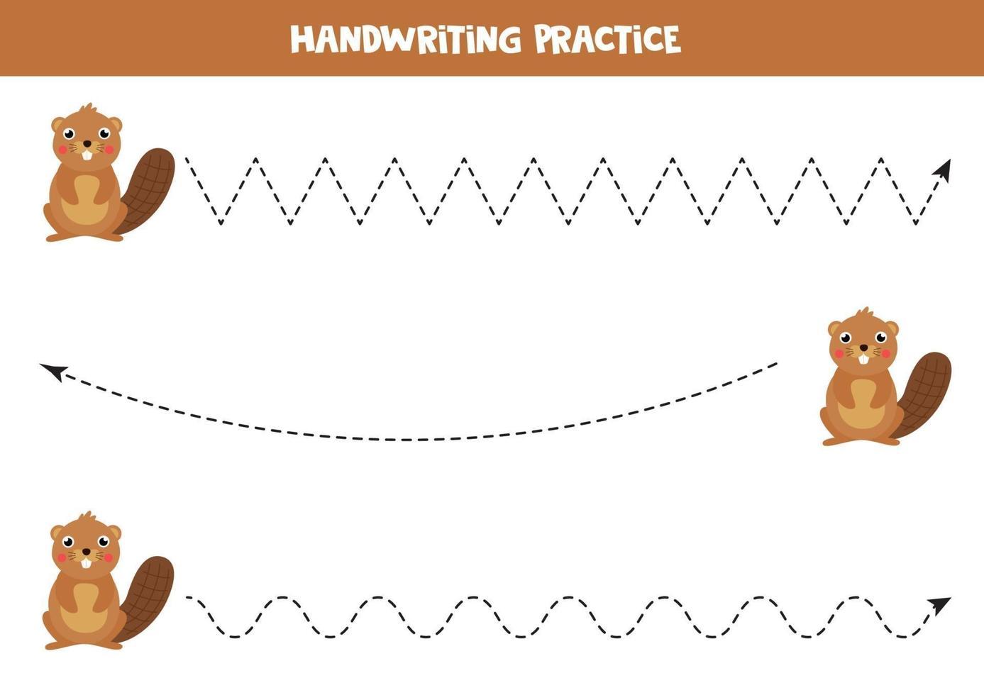 trazando líneas con un lindo castor de cartón. práctica de escritura a mano. vector