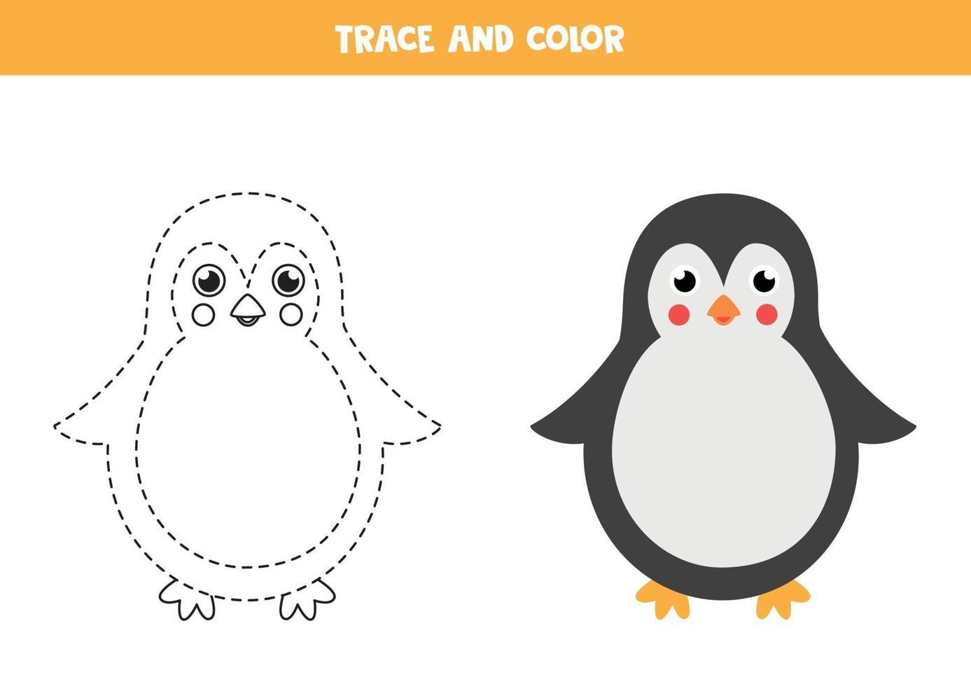 trazar y colorear lindo pingüino. hoja de trabajo para niños. vector