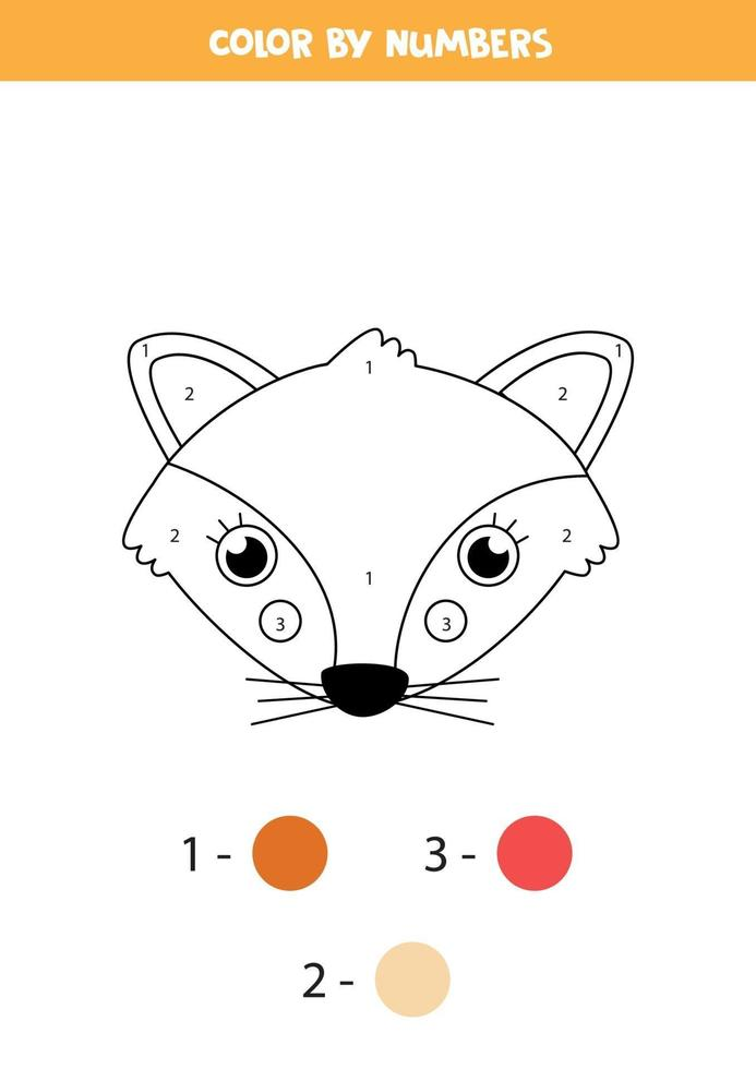 Color cute fox face by numbers. Worksheet for kids. vector