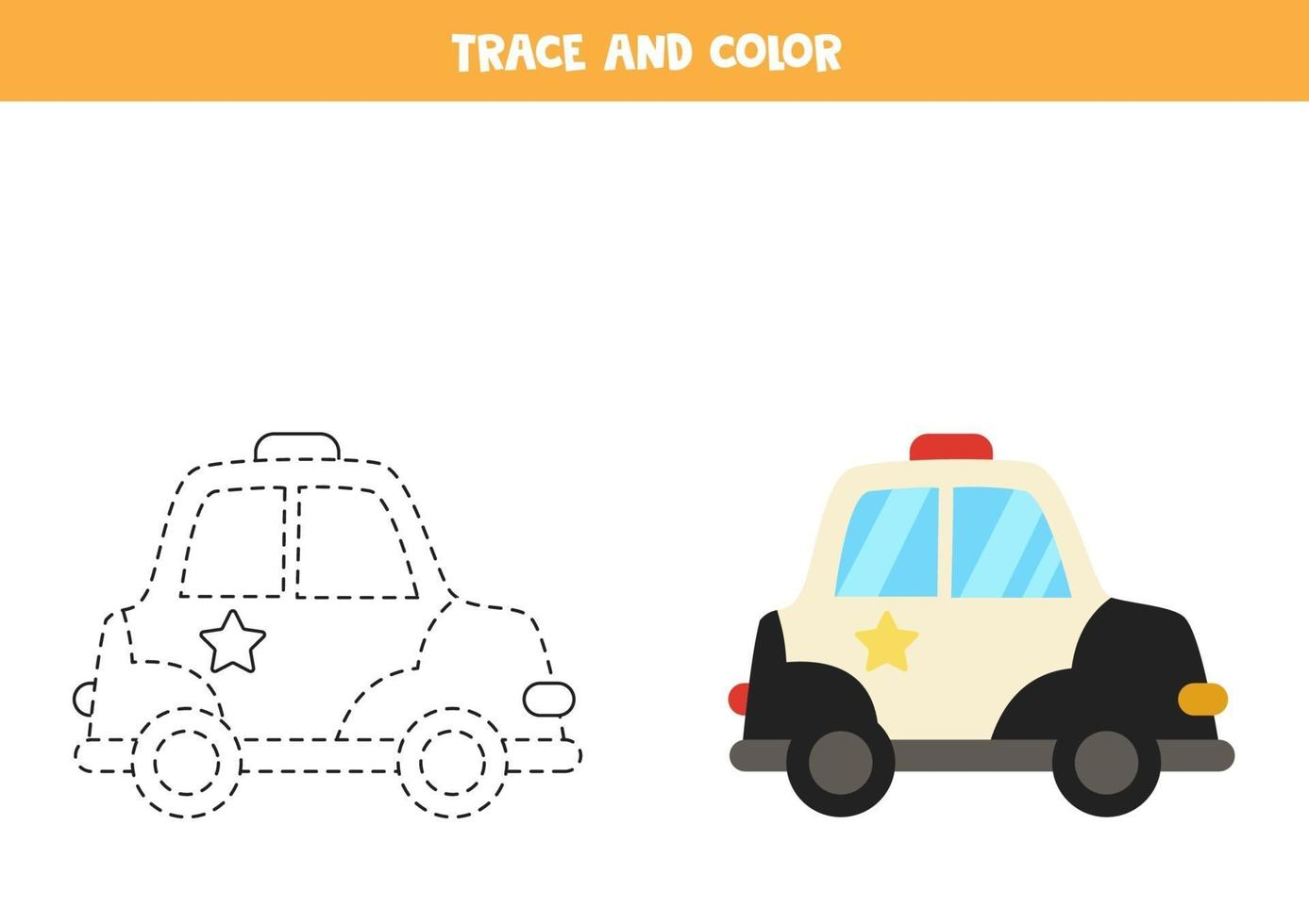 Trace and color cartoon police car. Worksheet for kids. vector