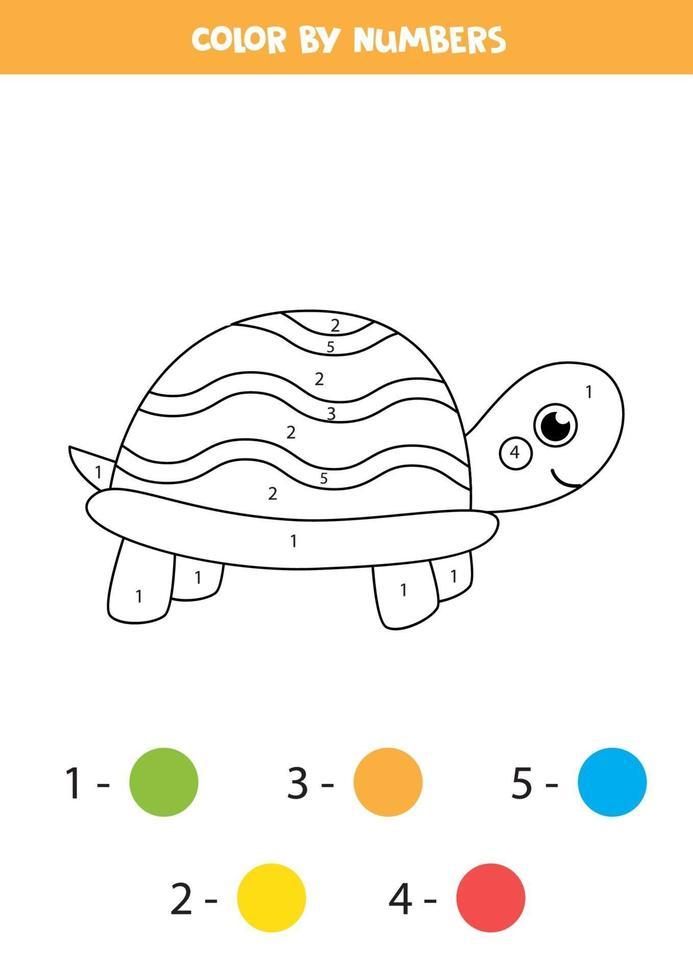 Tortuga linda de color por números. hoja de trabajo para niños. vector