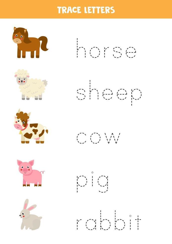 trazando letras con lindos animales de granja. Practica de la escritura. vector