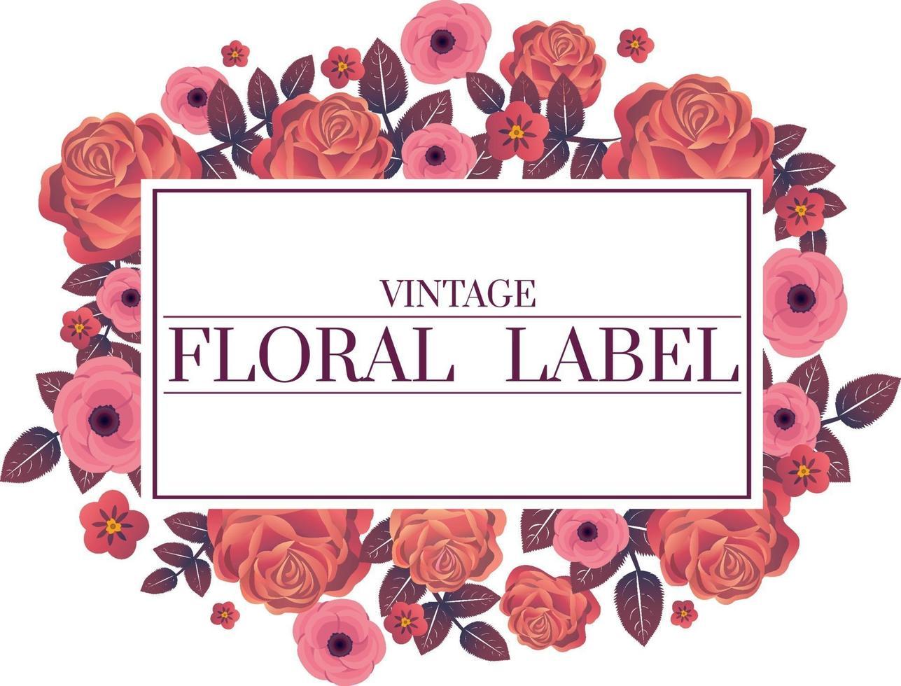 pink floral frame vector