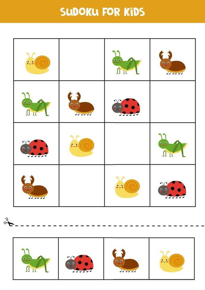 juego de sudoku con lindos insectos. para niños. vector