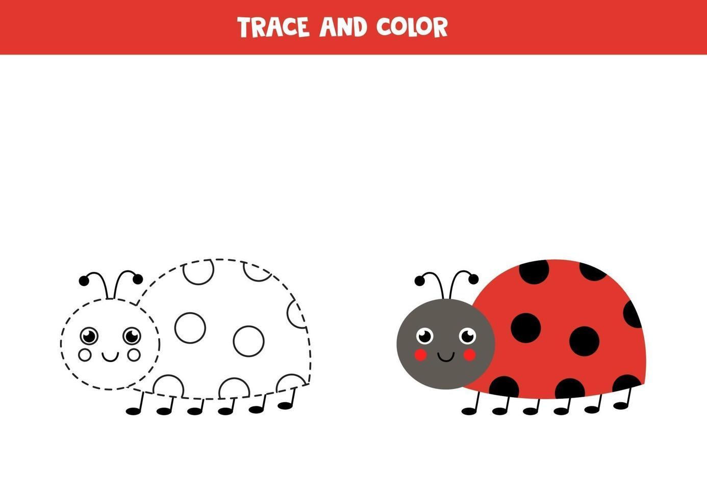 trazar y colorear mariquita linda. hoja de trabajo para niños. vector