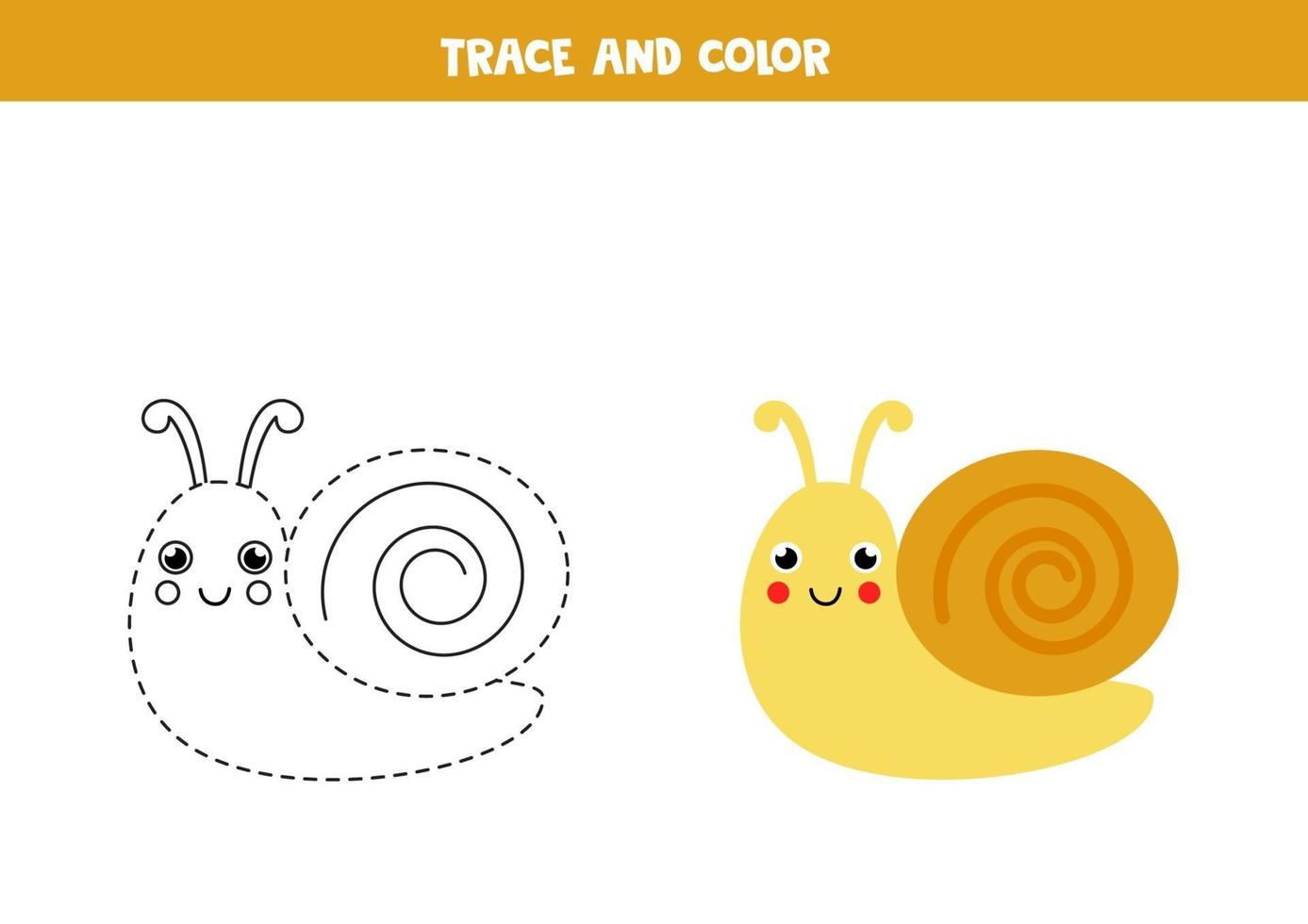 Trace and color cute snail. Worksheet for kids. vector