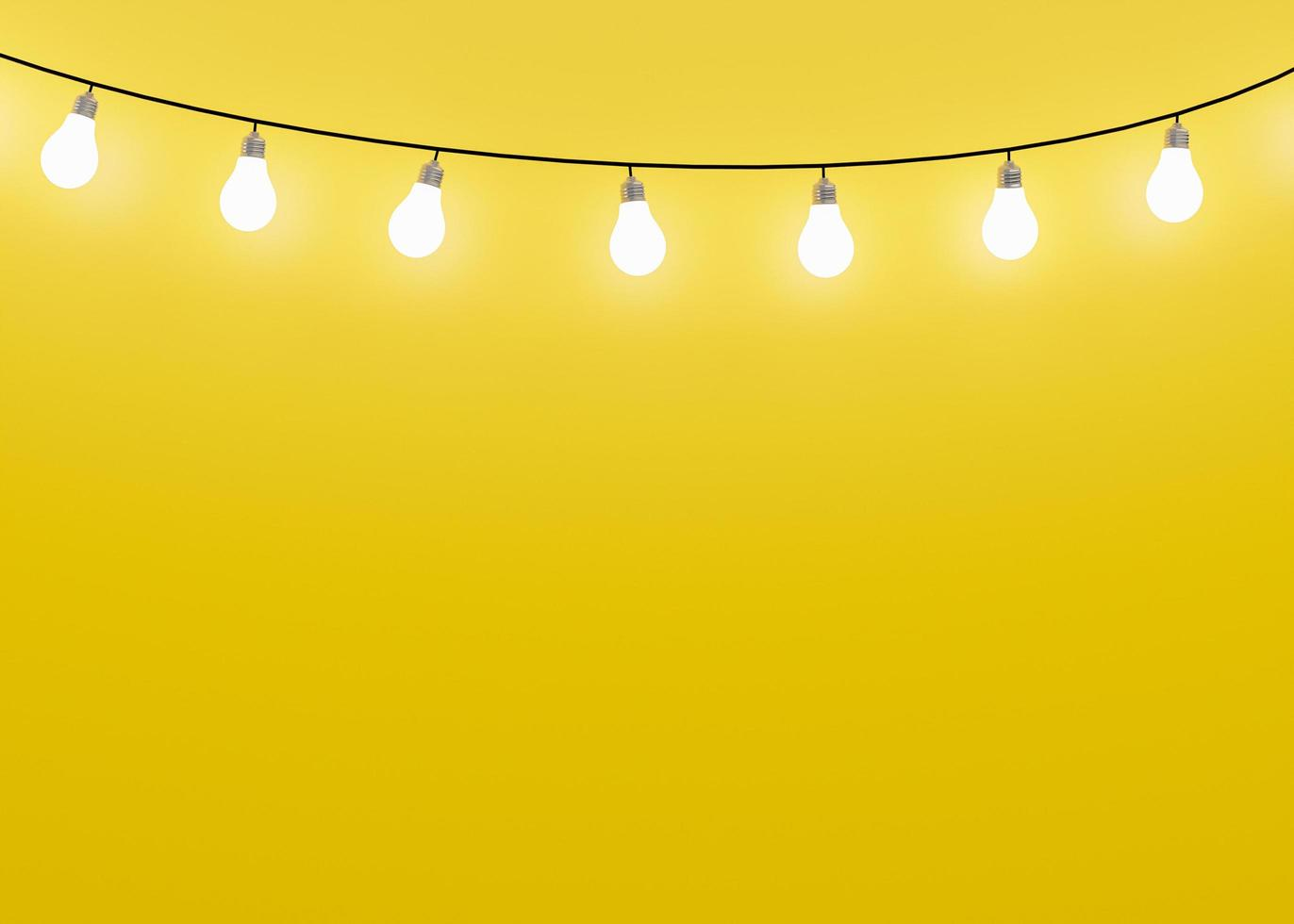 Yellow background with many light bulbs photo