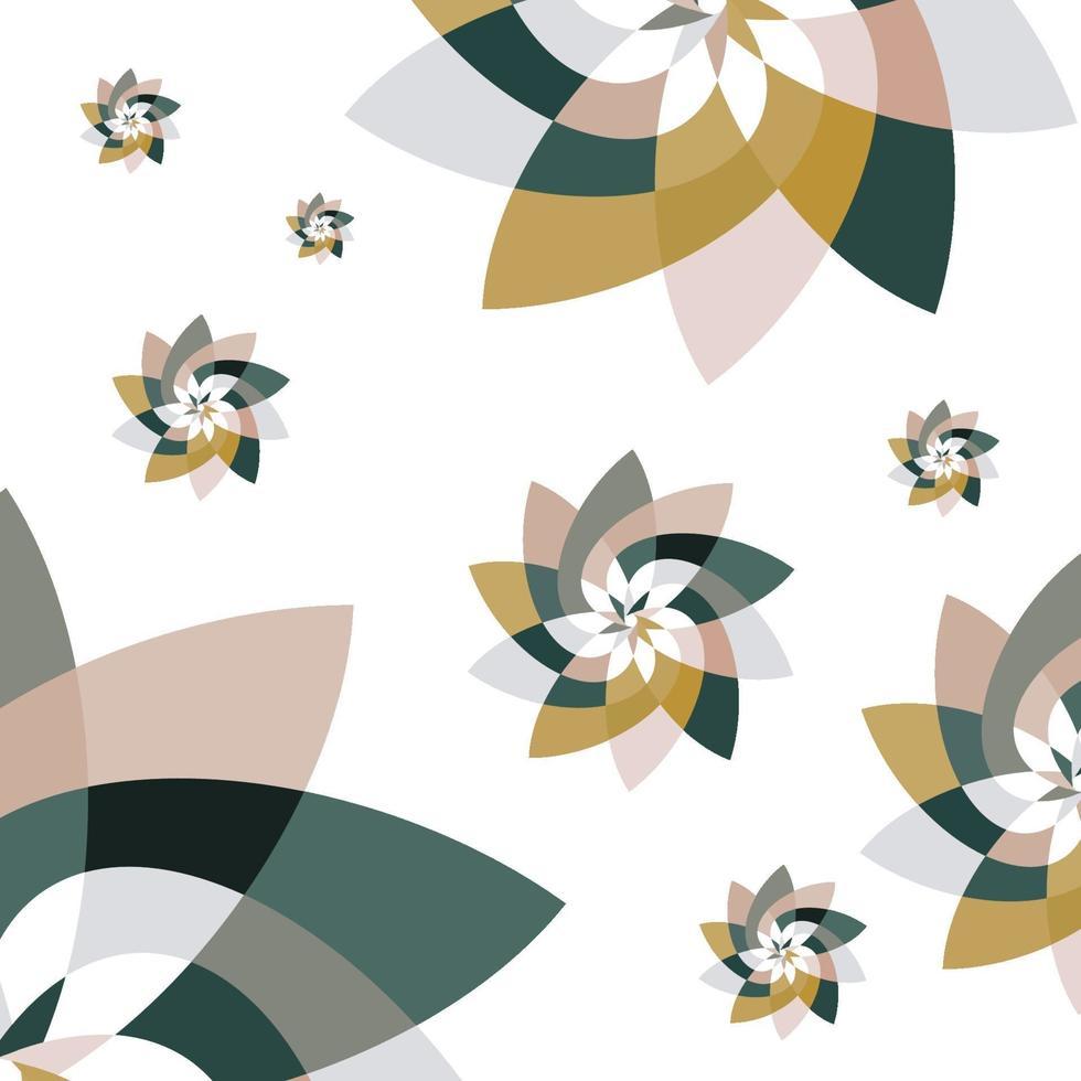 gráfico flor patrón de dispersión fondo verde oro vector