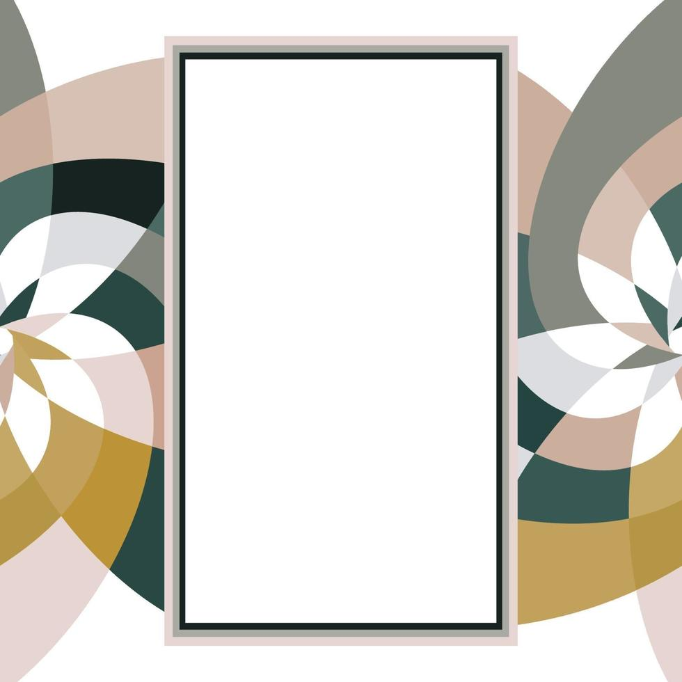 Graphic Flower Rectangle Template with Copy Space Gold Grey vector