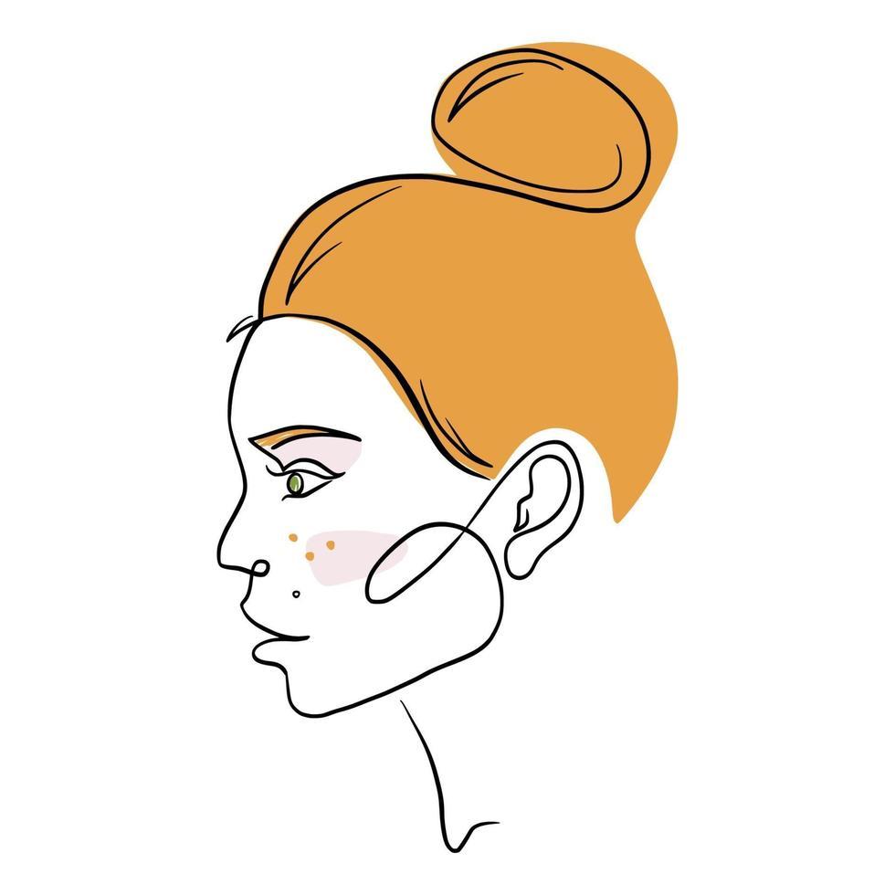 Perfil de mujer hermosa en estilo de arte de una línea para logotipo, plantilla de emblema. retrato femenino lineal minimalista de moda moderna. Ilustración de vector plano de cara de niña de pelo rojo. dibujo de linea continua