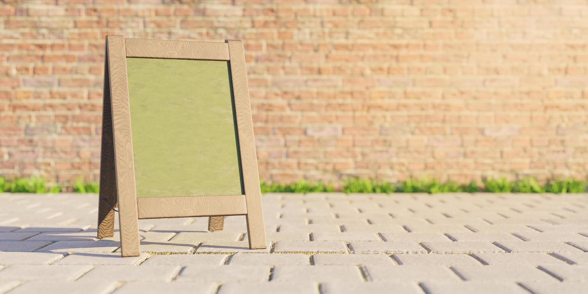 maqueta del tablero del menú del restaurante en la calle foto