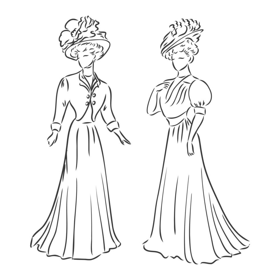 Antique dressed lady. Old fashion vector illustration. Victorian woman in historical dress. Vintage stylized drawing, retro woodcut style. retro dress, vector sketch on white background