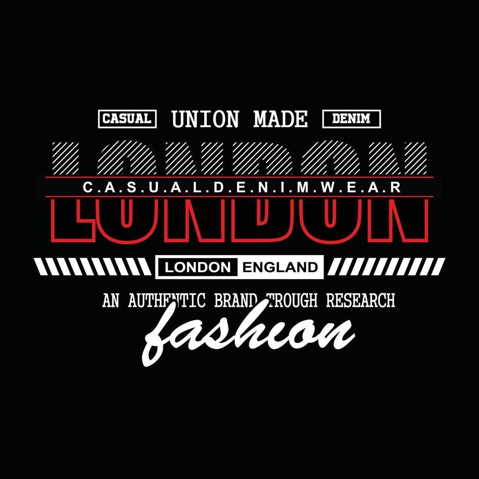 london denim typography t-shirt design vector