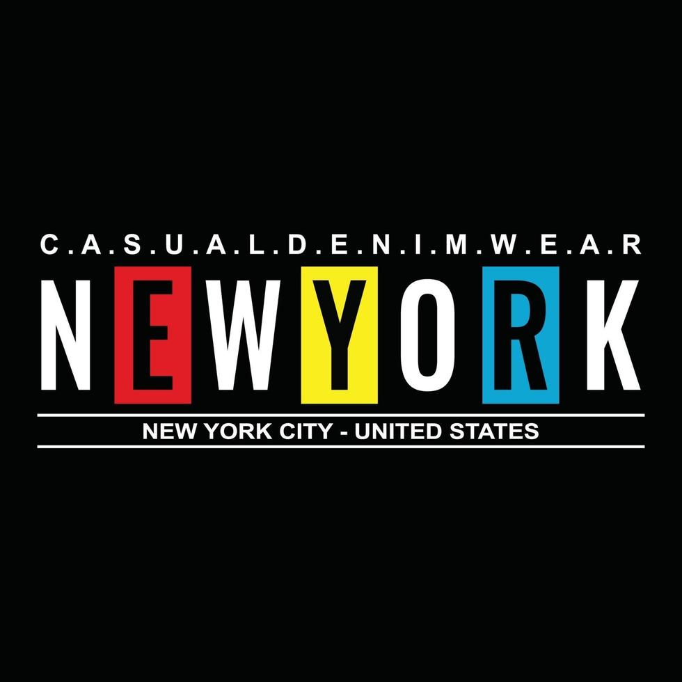 new york city urban clothing typography design vector