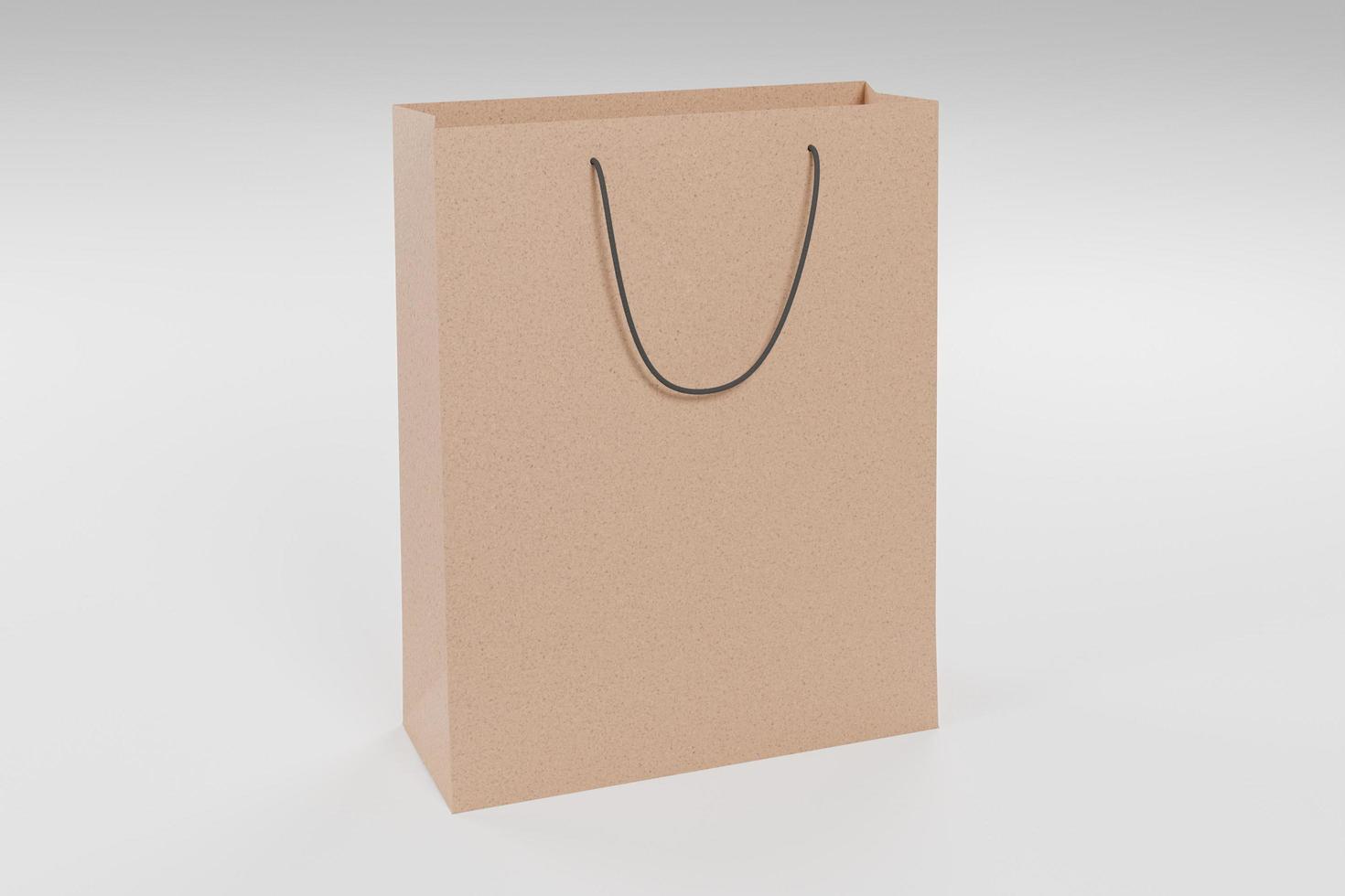 3D mockup of cardboard shopping bag photo