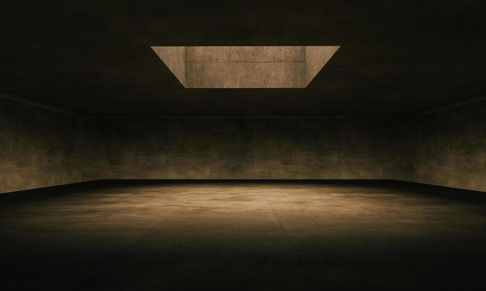 Gran sala de hormigón 3d iluminada por una ventana superior foto