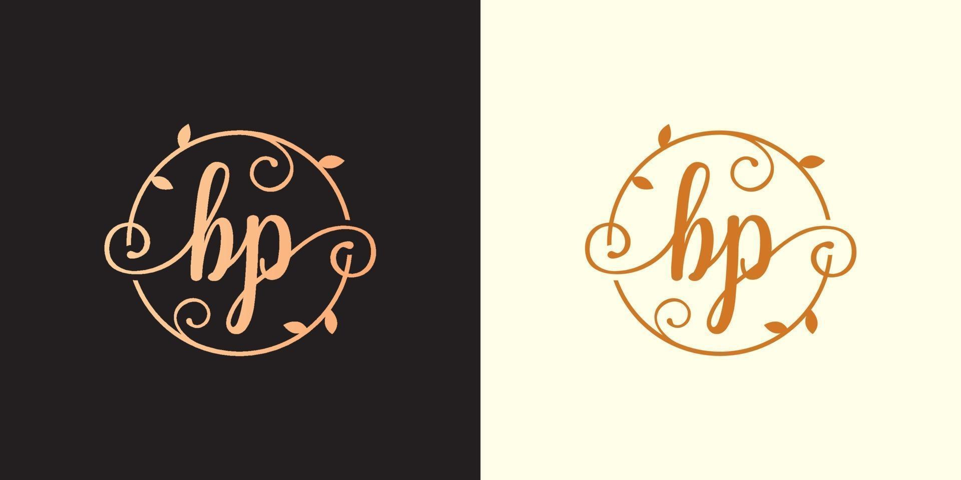 Decorative, luxury Letter BP initial, Classy Monogram logo inside a circular stalk, stem, nest, root with leaves elements. Letter BP flower bouquet wedding logo vector