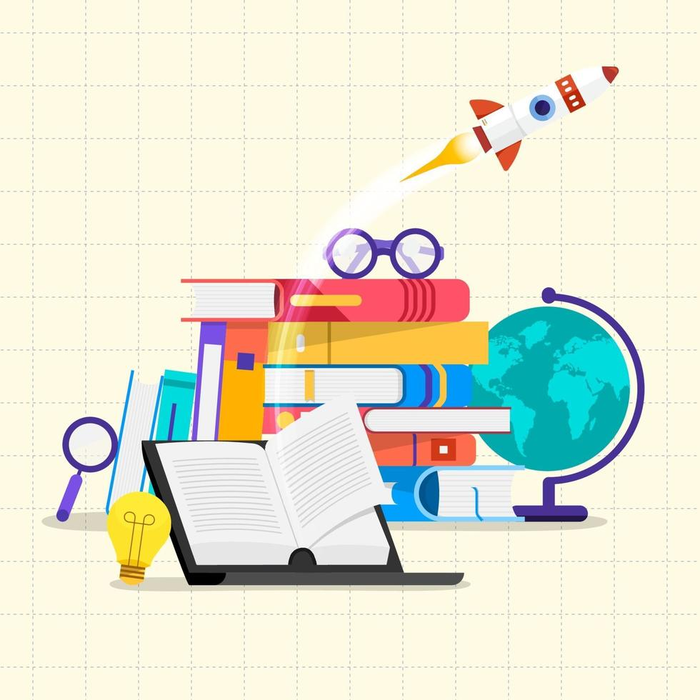 Education and learning with books, flat illustration style vector